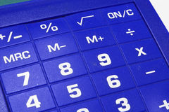 Blue calculator background. A blue calculator background with numbers stock photo