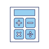 Blue calculator cartoon. Cute blue calculator cartoon vector graphic design Royalty Free Stock Photo