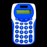 Blue calculator. On display 7 isolated on black background Stock Image