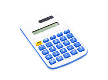 Blue calculator on White Background Stock Photo