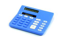 Blue calculator on white background Royalty Free Stock Images