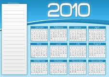 Blue calendar 1010. With notes stock illustration