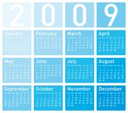 Blue Calendar for 2009. Calendar for 2009 in blue shades vector illustration