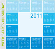 Blue Calendar 2011. Blue Calendar for year 2011, week starts on Sunday Royalty Free Stock Photos