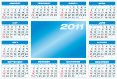 Blue Calendar 2011. Blue Calendar for 2011, in  format. American style (Week starts on Sunday Royalty Free Stock Photos