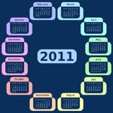 Blue Calendar For 2011. Week starts on Sunday. Royalty Free Stock Photos
