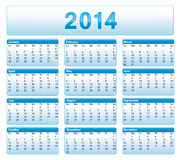 Blue 2014 calendar. American version. Blue 2014 calendar. American version with public holidays Stock Photos