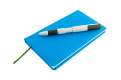 Blue calendar and ballpen. Isolated on a white background Stock Photo