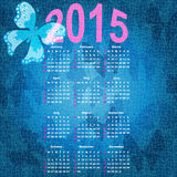 Blue calendar for 2015. With butterflies (vector eps 10 stock illustration