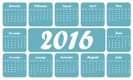 Blue 2016 calendar. In English, squares on white background Stock Illustration