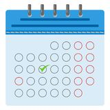 Blue calendar with a marked day royalty free illustration