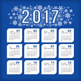 2017 blue calendar with stylized snowflakes. Vector illustration, eps 10 vector illustration