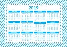 Calendar 2019, template. Week starts from Sunday. Vector illustration royalty free illustration