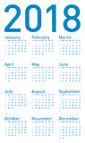 Blue Calendar for 2018, in vector format. Simple Blue Calendar for year 2018, in vector format stock illustration