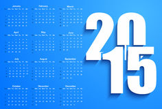 Blue 2015 calendar. Vector illustration background Stock Photos