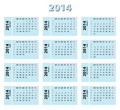 2014 blue calendar. Weeks starting from Monday. Weeks numbers included royalty free illustration