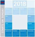 Blue Calendar for Year 2018, in English. stock illustration