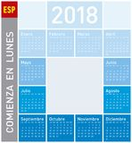 Blue Calendar for Year 2018, in Spanish. Week starts on Monday Stock Photos