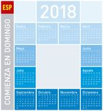 Blue Calendar for Year 2018, in Spanish. Week starts on Sunday Stock Photography