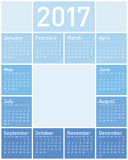 Blue Calendar for Year 2017. In vector format Royalty Free Stock Photo