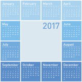 Blue Calendar for Year 2017 Royalty Free Stock Images