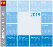 Blue Calendar for Year 2011, Week starts on Monday. Blue Calendar for Year 2018, in Spanish. Week starts on Monday Stock Images