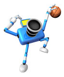 Blue camera basketball player Vigorously jumping. Create 3D Came Stock Photography
