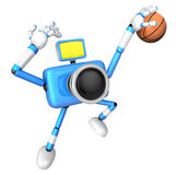 Blue Camera Characte playing a dunk shot. Create 3D Camera Robot Stock Images