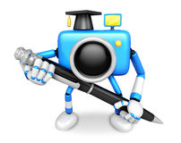 Blue Camera Character ballpoint pen a handwriting. Create 3D Cam Stock Photo