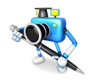Blue Camera Character ballpoint pen a handwriting. Create 3D Cam Royalty Free Stock Photography