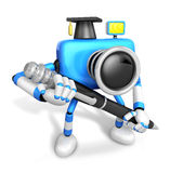 Blue Camera Character ballpoint pen a handwriting. Create 3D Cam Royalty Free Stock Photo