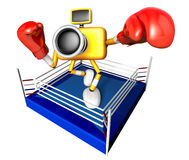 Blue Camera Character boxer takes a pose in the ring. Create 3D Royalty Free Stock Image