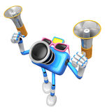Blue camera character is holding a megaphone in the hands. Creat Stock Images