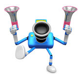 Blue camera character is holding a megaphone in the hands. Creat Royalty Free Stock Images