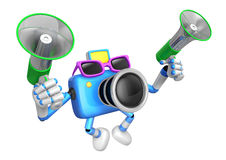 Blue camera character is holding a megaphone in the hands. Creat Stock Photos