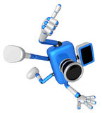 Blue Camera Character in Powerful camera to a photo shoot. Creat Stock Images