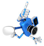 Blue Camera Character in Powerful camera to a photo shoot. Creat Royalty Free Stock Images