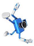 Blue Camera Character in Powerful camera to a photo shoot. Creat Stock Photo