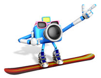 Blue Camera Character snowboard a riding. Create 3D Camera Robot Royalty Free Stock Image