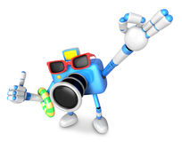 Blue Camera Character on their Vacation journey. Create 3D Camer Stock Photos