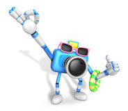 Blue Camera Character on their Vacation journey. Create 3D Camer Royalty Free Stock Images
