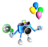 Blue camera character to the event activity. Create 3D Camera Ro Stock Photography