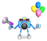 Blue camera character to the event activity. Create 3D Camera Ro Stock Photo