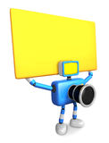 Blue Camera Character up yellow board a thing with both hands. C Royalty Free Stock Image