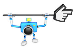 That blue Camera holding a large cursor indicate a direction. Cr Royalty Free Stock Images