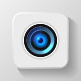 Blue Camera Lens Icon on White. Vector Royalty Free Stock Image