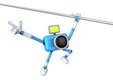 Blue camera with one hand horizontal bar exercises. Create 3D Ca Stock Photos