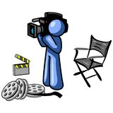 Blue cameraman. Blue man as a cameraman. Illustration on white background Royalty Free Stock Images