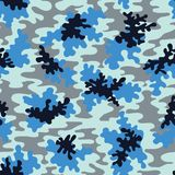 Blue Camo Vector Seamless Pattern. Fashion Marine Camouflage Background. vector illustration