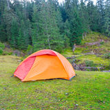 Blue camping tent Stock Photo